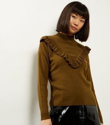 Olive Green Frill Trim Long Sleeve Jumper
