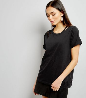 Black Cut Out Ripped Neck T-Shirt