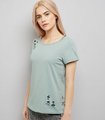 Green Cut Out Neck Distressed T-Shirt