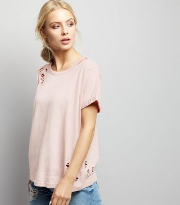 Pink Ripped Cut Out Shoulder T-Shirt