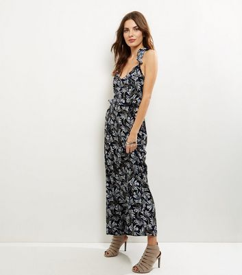 Blue Vanilla Blue Leaf Print Strap Back Maxi Dress