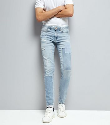 Pale Blue Light Wash Patch Skinny Jeans
