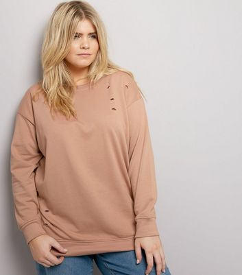 Curves - Sweat beige déchiré