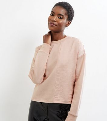 Shell Pink Sateen Panel Long Sleeve Sweater