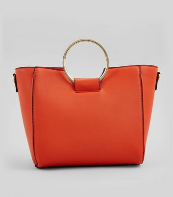 Orange Drawstring Ring Handle Tote Bag