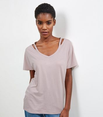 Pink Cut Out Panel Short Sleeve T-Shirt