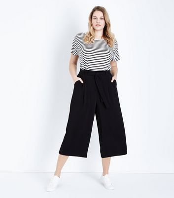 Curves Black Tie Waist Wide Leg Cropped Trousers