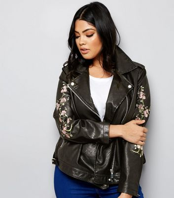 Curves Black Floral Embroidered Leather-Look Biker Jacket