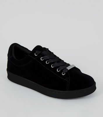 Black Velvet Lace Up Trainers