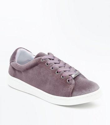 Lilac Velvet Lace Up Trainers