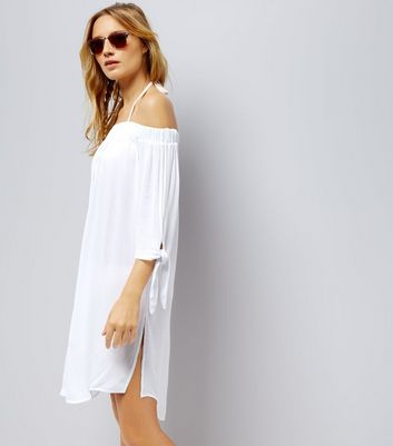 White Bardot Neck Beach Dress