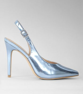 Blue Metallic Pointed Sling Back Heels