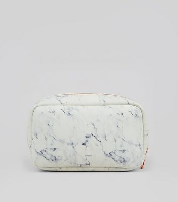 White Marble Pattern Make Up Bag