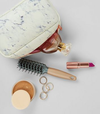 White Marble Pattern Make Up Bag New Look