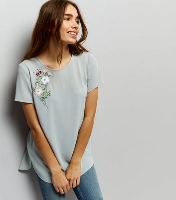 Grey Floral Embroidered Tie Back Top