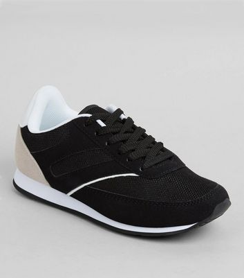 Teens Black Suedette And Mesh Trainers