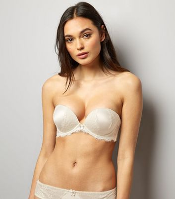 Cream Bridal Satin And Lace Multiway Boost Bra