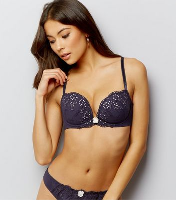 Navy Cotton Broderie Push Up Bra