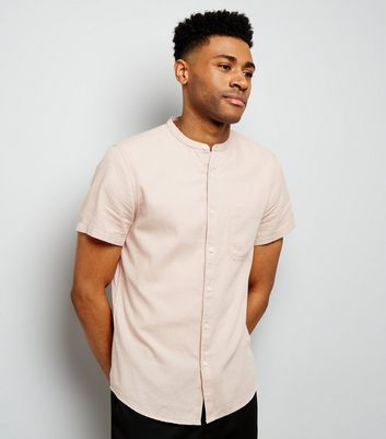 Pink Textured Short Sleeve Grandad Collar Shirt