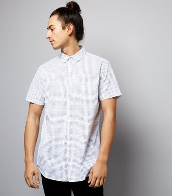 White Box Print Short Sleeve Shirt