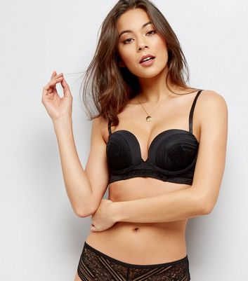 Black Linear Lace Longline Boost Bra