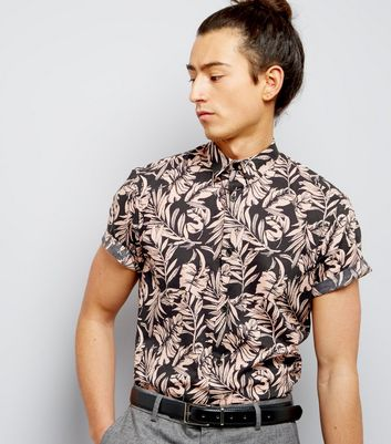 Pink Tropical Floral Print Short Sleeve Shirt