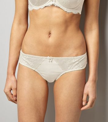 Cream Bridal Satin and Lace Brazilian Briefs