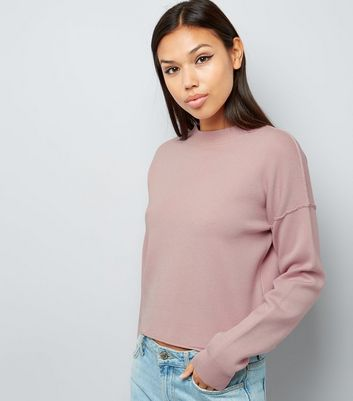 Shell Pink Funnel Neck Seam Trim Cropped Jumper