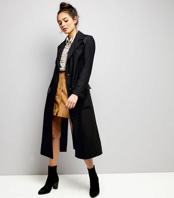 Black Belted Military Duster Coat