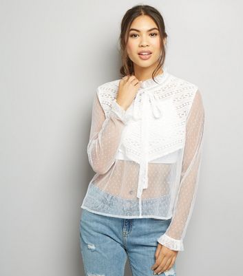 Blue Vanilla Cream Sheer Lace Panel High Neck Top