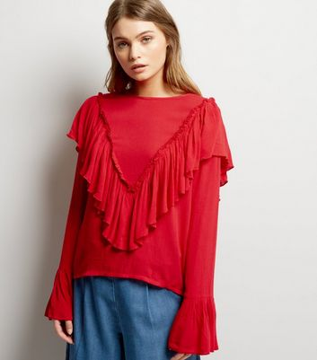 Blue Vanilla Red Frill Trim Blouse