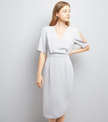 Grey Wrap Front Pencil Dress