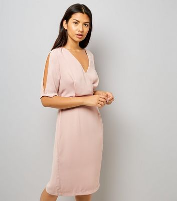 Mid Pink Wrap Front 1/2 Sleeve Midi Dress