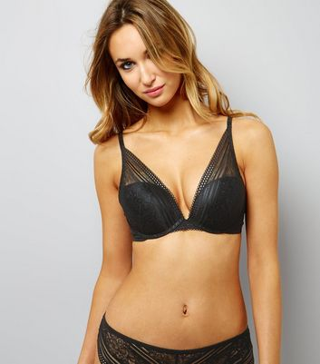 Black Linear Lace Plunge Bra