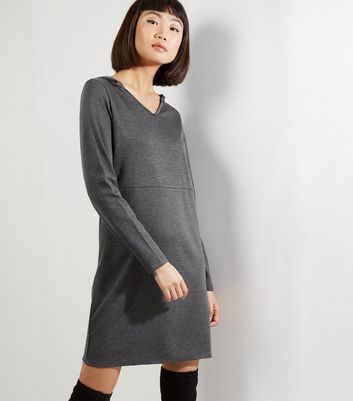 Grey Hooded Long Sleeve Shift Dress
