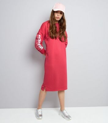 Bright Pink Forbidden Sleeve Print Jumper Dress