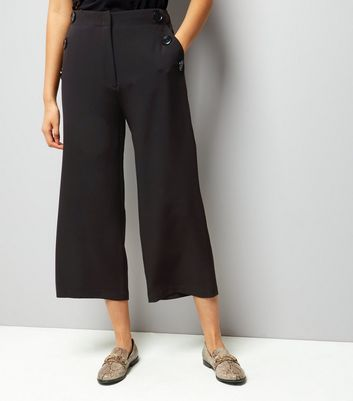 Black Button Trim Wide Leg Cropped Trousers