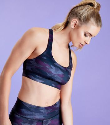 Dark Purple Camo Print Sports Crop Top