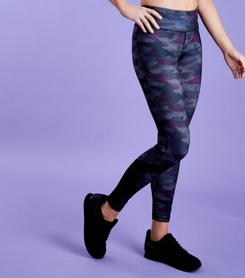 Dark Purple Camo Print Sports Leggings