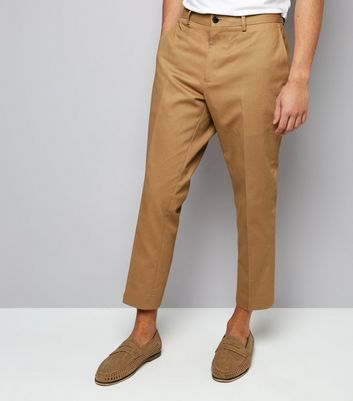 Tan Cropped Cotton Trousers