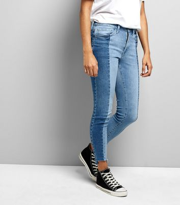 Petite Blue Two Tone Skinny Jeans