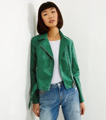 Green Belted Leather-Look Cropped Biker Jacket