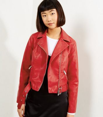 Red Belted Leather-Look Cropped Biker Jacket