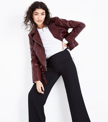 Burgundy Leather-Look Cropped Belted Biker Jacket