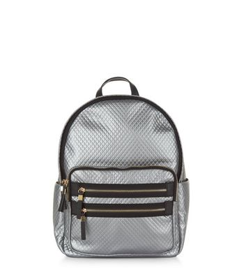 Silver Metallic Quilted Backpack