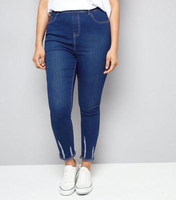 Curves Blue Ripped Hem Jeggings