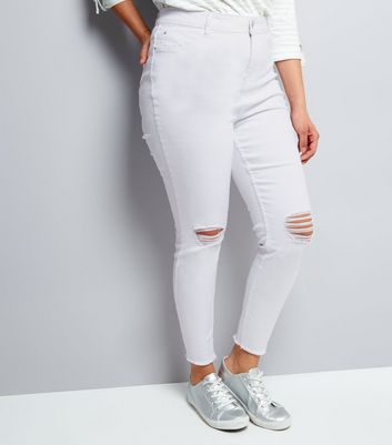 Curves White High Waist Ripped Skinny Jenna Jeans