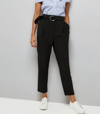 Petite Black Circle Belt Slim Leg Trousers