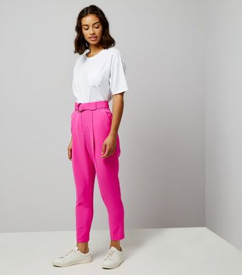 Petite Bright Pink Circle Belt Slim Leg Trousers