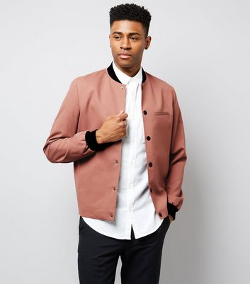 Deep Pink Popper Front Tailored Bomber Jacket